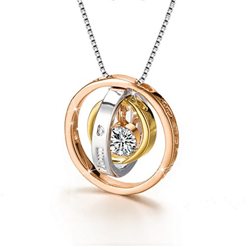 Mum necklace amazon cs trinity pendant necklace with swarovski crystal rose gold gold plated and silver fashion jewelry mozeypictures Image collections
