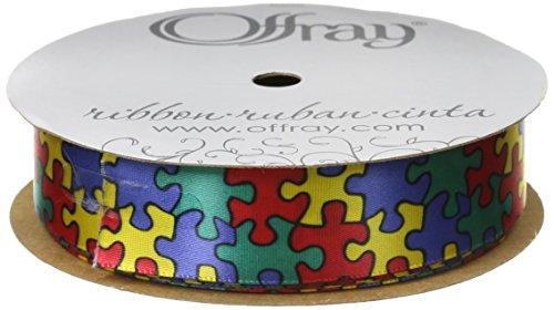 Offray Jigsaw Craft Ribbon, 7/8-Inch Wide by 10-Yard Spool, Blue -