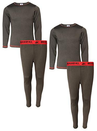 Beverly Hills Polo Club Boys 4-Piece Performance Thermal Underwear Set (2 Full Sets), Marled Black, Size Small (6/7)' (Thermal Performance Knit)