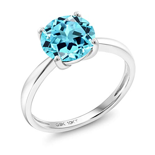 (Gem Stone King 10K White Gold Swiss Blue Topaz Women's Engagement Solitaire Ring 2.20 Ct Gemstone Birthstone Round 8MM Available in size 5, 6, 7, 8, 9))