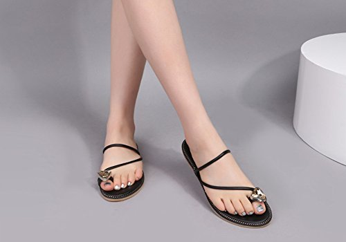 Clip Woman Women's Sandals ZCJB Flat Flat Slippers Style1 Shoes Outer Toe Summer Wear Heel qw00zxt
