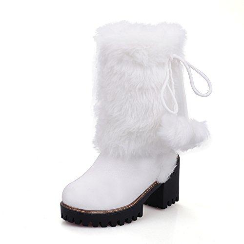 RAZAMAZA Women Warm Lined Boots Pull On White