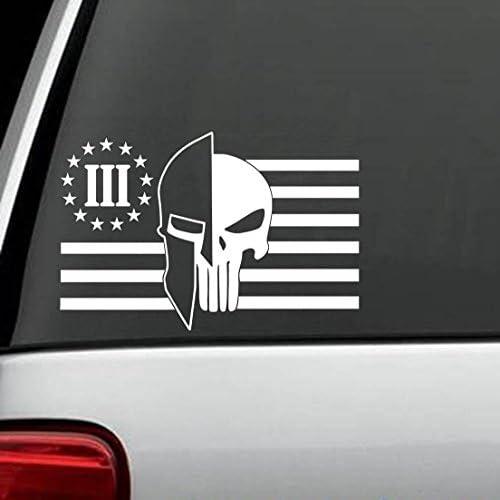 Oath Keeper Punisher Tattered Flag stars Left Molon Labe Sticker