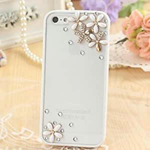 LCJ Fashion Transparent Frosted Rhinestone Flower Silicone Soft Case for iPhone 6 Plus(Assorted Colors) , Pink