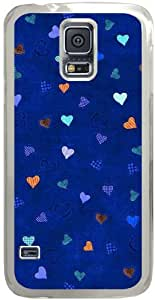 Galaxy S5 Case, Galaxy S5 Cases - Compatible With Samsung Galaxy S5 SV i9600 - Hard Shell Transparent Cover Skin Cases S5 Cases Chevron Retro Vintage Tribal Nebula Pattern Cases Hearts Blue