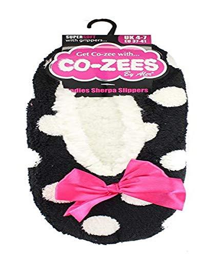 doublure Femmes SHERPA 4 et pois 7 Pantoufles rayé doux blanc super UK noir polaire wtf6EqrwxR
