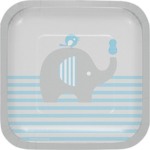 7 Dessert Square Plates (Creative Converting Little Peanut-Boy Square Paper Dessert Plates, 7 (Value Pack: 24 Count))