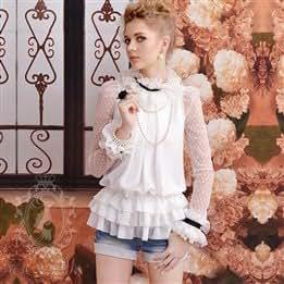 Pink doll White Palace Lotus Leaf collar mesh yarn loose chiffon long sleeve blouse