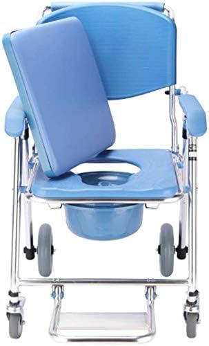 GBX Beweglich Faltbare Durablefolding Potty Wc Stuhl, Heavy Duty Kopfendecommode Stuhl | Rollstuhl Mit Runder Schüssel Und Fußstützen | Wc | Mit Rückenlehne Und Die Armlehnen (4 Räder),B