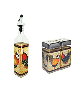 Grant Howard French Rooster Cruet and Salt and Pepper Combo