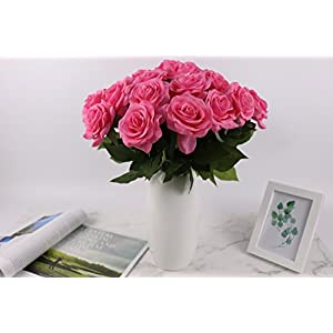 KISMEET Artificial Roses Fake Silk Flowers Real Touch Long Stem for Wedding Party Home Office Outdoor Craft Decoration, Pack of 10 (Pink) 3