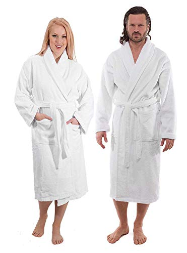 Luxury Terry Cotton Cloth Plush Bathrobe - Premium Cotton Hotel and Spa Robes for Men and Women - Made with 100% Turkish Quality Cotton (Small)