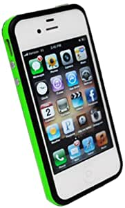DECORO DBIP4GRBK Premium TPU Bumper Case for iPhone 4/4S - 1 Pack - Retail Packaging - Green/Black