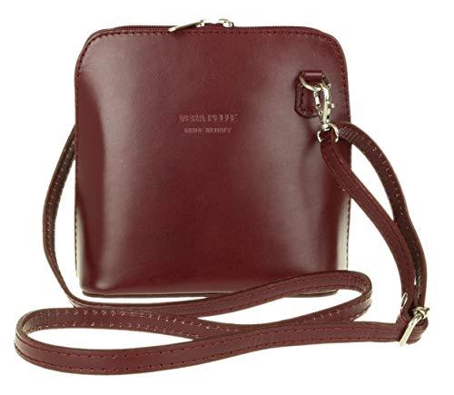 Oscuro Handbags Auténtica Piel Bandolera Rígida Italiana Girly De Rojo Tqw7g