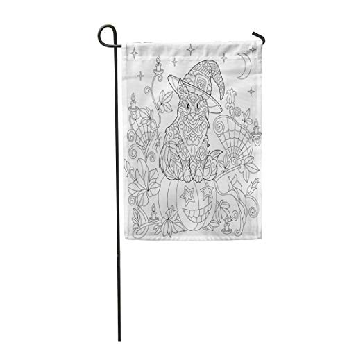 Tarolo Decoration Flag Halloween Coloring Page Cat in Hat Pumpkin Spider Lanterns Candles Moon and Stars Freehand Sketch Drawing for Adult Thick Fabric Double Sided Home Garden Flag 12