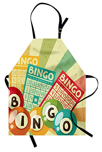 Ambesonne Vintage Apron, Bingo Game with Ball and Cards Pop Art Stylized Lottery Hobby Celebration Theme, Unisex Kitchen Bib Apron with Adjustable Neck for Cooking Baking Gardening, Yellow Green
