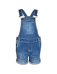 Kids Girls Dungaree Short Light Blue Denim Ripped Stretch Jeans Overall Jumpsuit