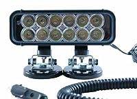 LED Emitter Light - Magnetic Mount - 12 LEDs - 36 Watts - 9-42 VDC - 550'L X 70'W Beam (-Black-Flood-6000K)