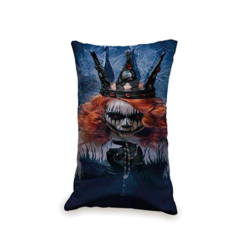 TecBillion Queen Soft Rectangle Pillow,Queen of Death Scary Body Art Halloween Evil Face Bizarre Make Up Zombie for Sofa Car,19.6