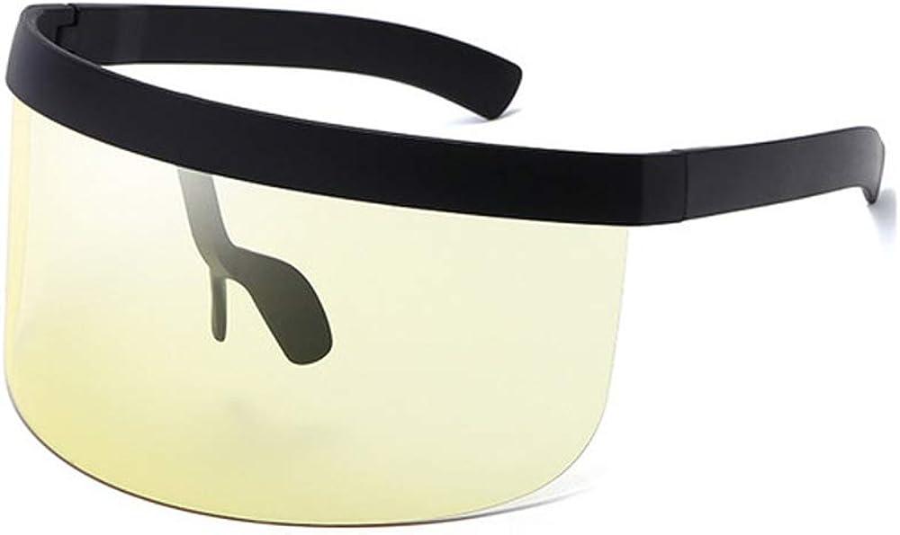 CHDHALTD Oversize Sunglasses Shield Visor Big Frame Windproof Sunglasses for Women Vintage Retro Round Mirrored Lens