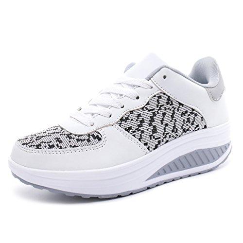 JRenok Baskets Femme Printemps Chaussures de Sport Mesh Sneakers Confort Résistant à L'Usure Antidérapante 35-43 Blanc Cassé covAu9q