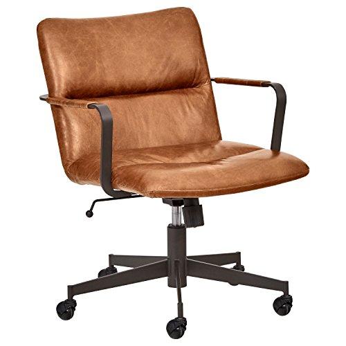Rivet Mid-Century Leather Three-Panel Chair on Wheels, 25.75″W, Saddle