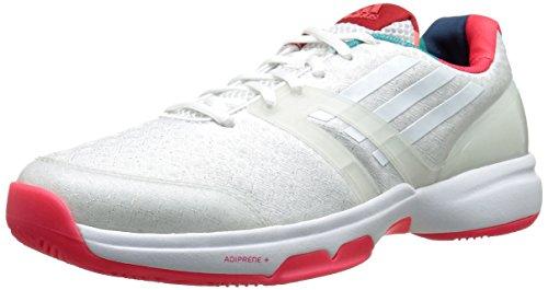 La Performance Adidas Adizero Attaque Avec Des Femmes De Chaussures De Tennis Blanc / Blanc / Rouge Choc