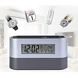 Digital Desk Pen Pencil Holder LCD Alarm Clock Thermometer Calendar Display for Home Office School [Back to School]