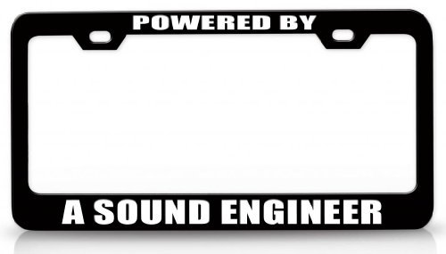 License Plate Covers Powered By A Sound Engineer Career Steel Metal License Plate Frame Bl # 18 Jesus Collector Plate