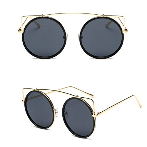 Niceskin Cat Eye Round Mirrored Sunglasses UV400 Fashion Shades for Women, Metal and Resin (Black) (70s Fashion Australia)