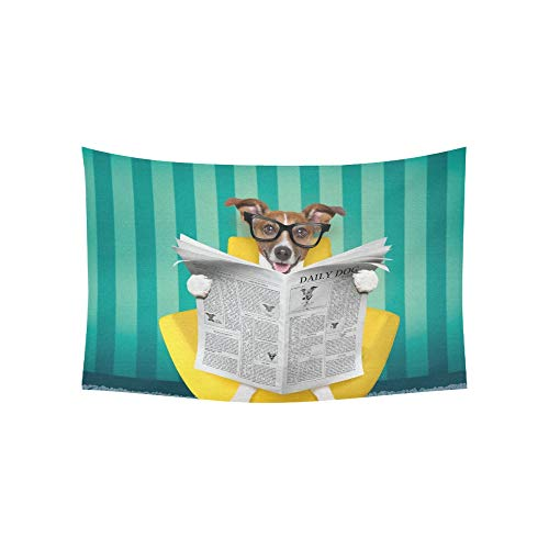 YPink Tapestry Jack Russell Dog Reading Newspaper On Tapestries Wall Hanging Flower Psychedelic Tapestry Wall Hanging Indian Dorm Decor for Living Room Bedroom 60 X 40 - Jack Throw Tapestry Russell
