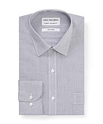 Van Heusen Classic Relaxed Fit Business Shirt, Black, 38 86