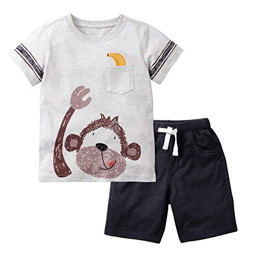 Gorboig Little Boys' Cotton Clothing Short Baby Sets(Monkey-6T)