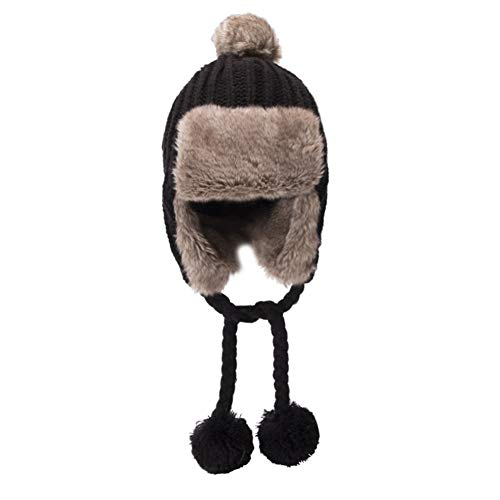 BAOBAO Women's Cable Knit Ribbed Beanie Thick Warm Windproof Pompom Trapper Hat with Ear Flaps Black
