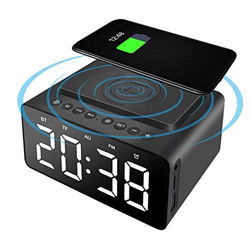 LINGSFIRE Wekker Nachtkastje Bluetooth-luidspreker FM-radio Niet tikkende met USB-oplader en draadloos QI-opladen, 3…