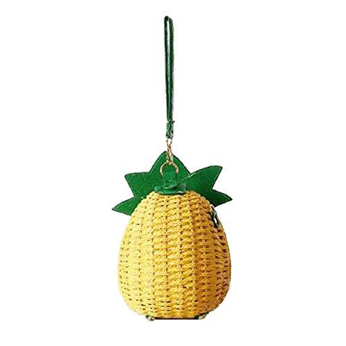 FAIRYSAN Damen Mini Schulter Kreuz Körper Tasche Frauen Sommer Pastoral Urlaub Strand Tasche Ananas Stil für Mädchen gelb