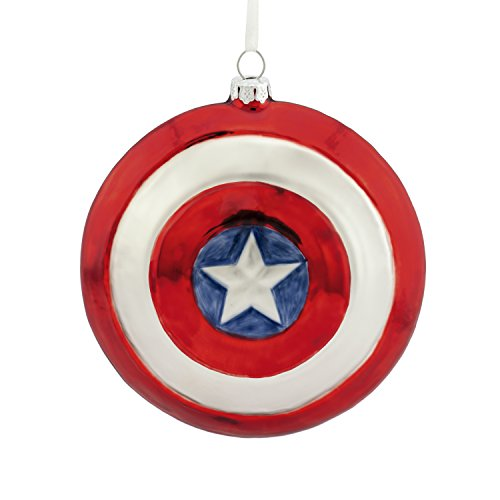 Hallmark Marvel Captain America Shield Blown Glass Christmas Ornament