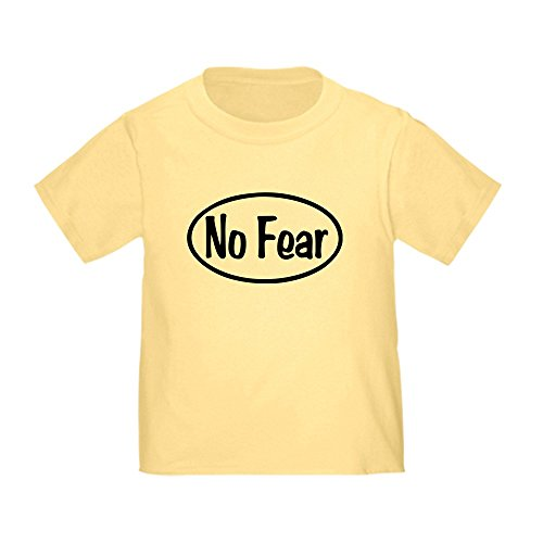 CafePress No Fear Oval Cute Toddler T-Shirt, 100% Cotton Daffodil Yellow
