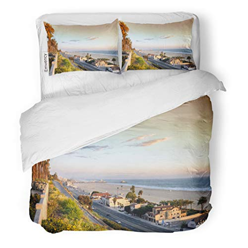 Semtomn Decor Duvet Cover Set Full/Queen Size USA View of Pacific Coast Highway at Santa Monica 3 Piece Brushed Microfiber Fabric Print Bedding Set Cover -