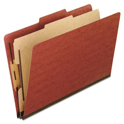 (Pendaflex Products - Pendaflex - Pressboard Classification Folders, Letter, 4-Section, Red, 10/Box - Sold As 1 Box - Embossed 2amp;quot; capacity fasteners are embedded into 25 pt. pressboard covers for durability. - 17 pt. Kraft dividers feature two-way 1amp;quot; capacity fasteners. - Color-matched, reinforced rip proof tape gussets for expansion. - 2/5 cut top tabs in right of center position. -)