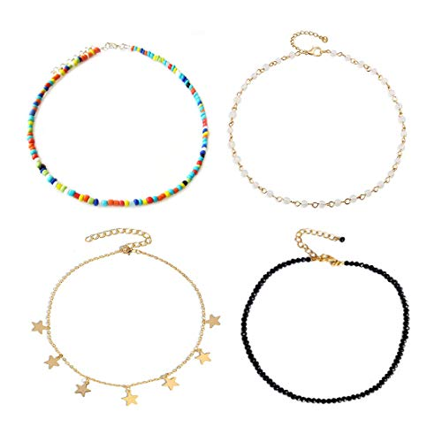 7th Moon Bead Star Choker Necklace Bohemian Colorful Black Seed Bead Opal Necklace for Girls 4Pcs