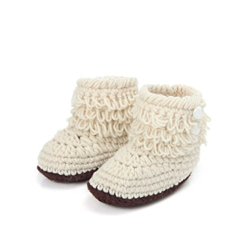 Iuhan® New Baby Girls Crochet Handmade Knit High-top Tall Boots Shoes (Beige)