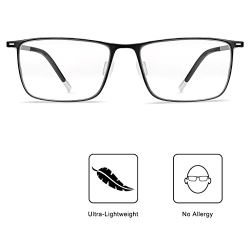 Blue Light UV Blocking Light Filter Computer Reading Glasses Flexible Frame Anti Eye Fatigue Transparent Lens Ultra-Lightweight Vision Care Protect Your Eyes Unisex for Men and Women (Dark Gray) by Visflair