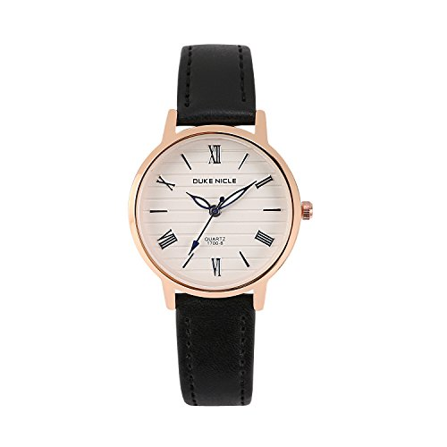 - Womens Fashion Watch,Ladies Elegant Waterproof Quartz Rose Gold Case Roman Numeral Casual Wrist Watches with Soft Genuine Leather Band(Black)