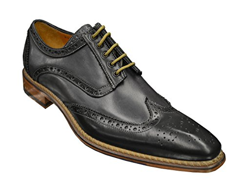 Jose Real Men's Genuine Calfskin Italian Oxford Dress Shoes R2318 - Made In Italy, Black Grey, 9 M Italy Calf Mens Dress Shoes