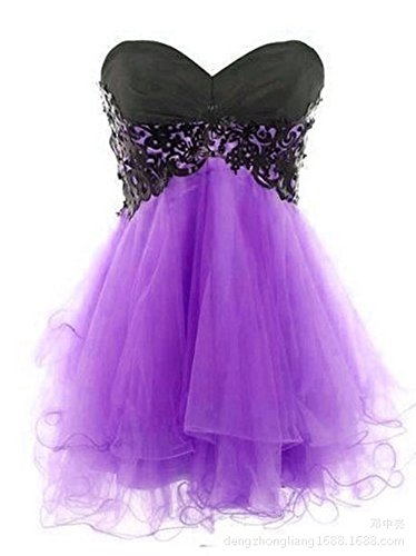 Women's Purple Gowns Dresses Homecoming Prom Short Anna's Bridal Organza SwBqZ5p