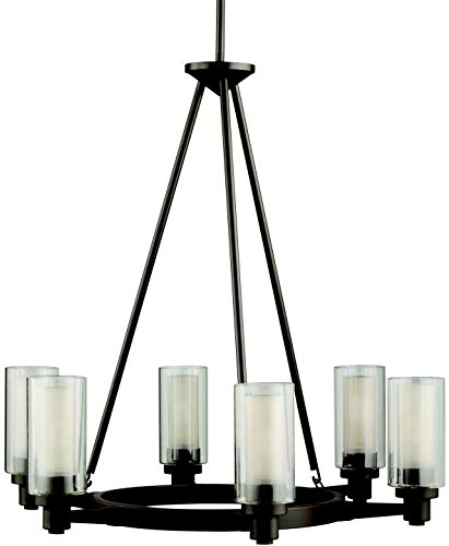 Kichler 2344OZ, Circolo Glass 1 Tier Chandelier Lighting, 6 Light, 360 Watts Halogen, Olde Bronze - 26.5 in H x 26 in W; 13 lb Requires (6) T10 bulbs, not included Olde Bronze finish with Clear Outer Cylinder With Umber Etched Inner glass - kitchen-dining-room-decor, kitchen-dining-room, chandeliers-lighting - 41wx4Bgbo L -