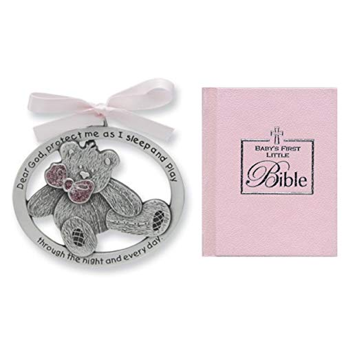 - New Baby Girl Gift - Teddy Bear Crib Medal & Mini Bible - Christening Shower Gift Baptism Keepsake with Pink Ribbon - Infant - Newborn