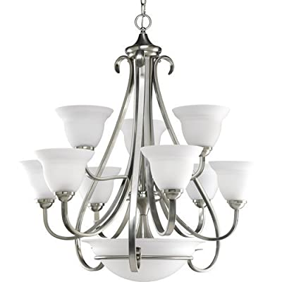 Progress Lighting P4418 Torino 12 Light Chandelier with Etched Glass Shades - 33,