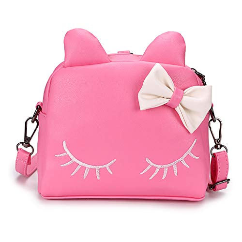 Hipiwe Little Girl Purse PU Leather Cute Cat Ears Purse Fashionable Kids Handbag Crossbody Bag Toddlers Shoulder Bags Mini Backpack Bags with Bowknot for Children (Pink Cat)